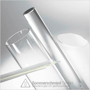 Glasrör och -stänger, glasrör av borosilikatglas samt glasbehållare av sodagla, Duran 3.3 eller Ilmatherm I-880