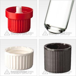 Provrör med gänga, transparent brunt glas, DIN 14 och DIN 18, skruvkorkar, förslutningar